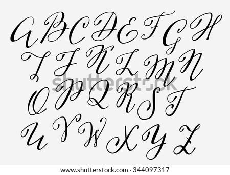 Handwritten Calligraphy Flourish Font Capital Letters Stock Vector