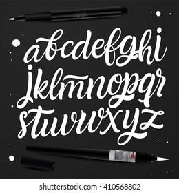Handwritten calligraphy font. Type vector.