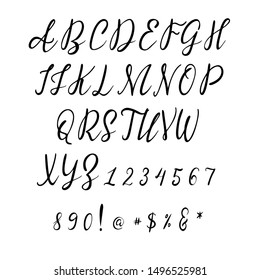 Handwritten calligraphy font. Vector alphabet. Hand drawn letters objects