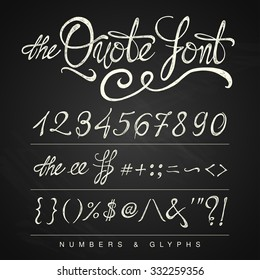 Handwritten calligraphy quote font - numbers, white on the blackboard background