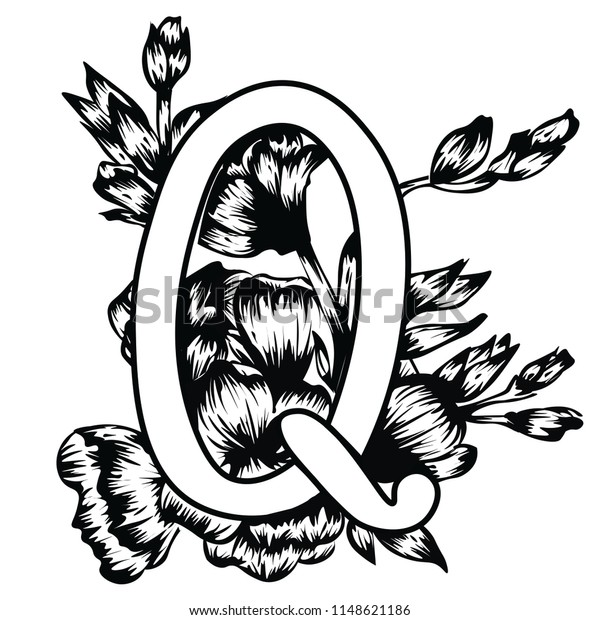 image regarding Letter Q Printable titled Handwritten Cash Letter Q Floral Alphabet Inventory Vector