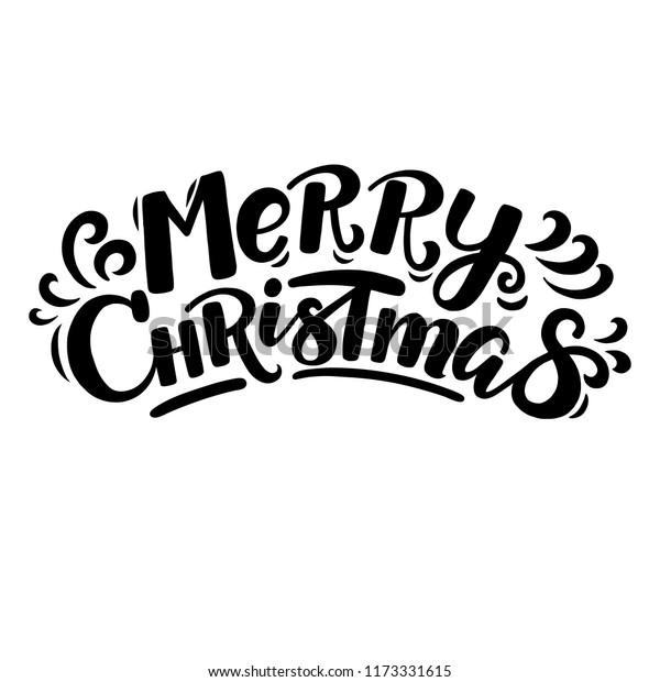 Merry Christmas Lettering.Handwritten Cartoon Style Merry Christmas Lettering Stock