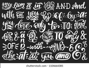 Handwritten catchwords and ampersands vector set. Calligraphy collection of different conjunctions, prepositions, words on black background.