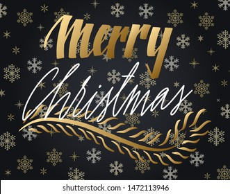 Handwritten Christmas greetings, modern festive calligraphy lettering for postcards. White and golden over black snowflakes background. Holiday season design, vector illustration.