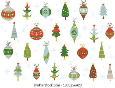 Handwritten Christmas ornament pattern Scandinavian style