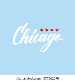 Handwritten city name Chicago with flag stars. Calligraphic element for your design. Vector illustration.