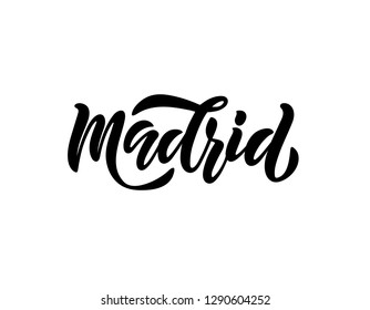 Handwritten city name. Hand-lettering calligraphy. Madrid. Handmade vector Lettering.  For Spanish souvenir, card, postcard, badge, icon, logo, banner, tag, t-shirt, bag. - Vector