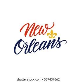 Handwritten city name New Orleans with Fleur De Lis symbol. Vector illustration.