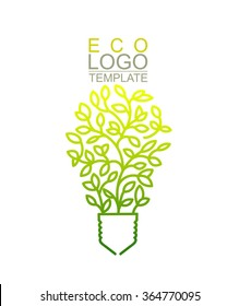 Handwritten Conceptual Green Eco Logo Template. Lightbulb