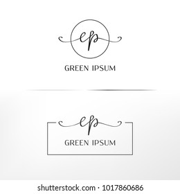 Handwritten 'cp' or 'ep' logo for event/branding identity. Vector image.