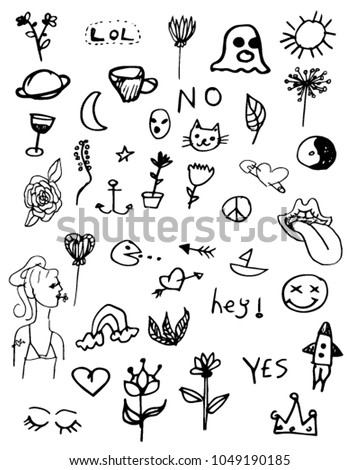 Handwritten Cute Notebook Doodles Sketches Vector Stock Vector