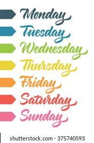 handwritten days of the week: monday, tuesday, wednesday, thursday, friday, saturday, sunday; calligraphy