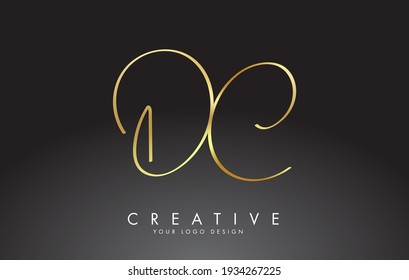 Handwritten DC D C Golden Luxury Letters Logo with a minimalist design. Creative Stamp Vector Illustration with letters D and C.