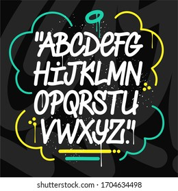 Handwritten Doodle Graffiti Font Alphabet. Vector Abstract Illustration