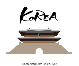 Handwritten english letter KOREA of asian style, And a vector illustration Sungnyemun (known as Namdaemun) that is the landmark of Seoul, Korea.