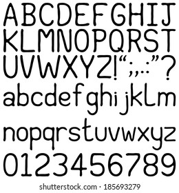 Handwritten Font - Alphabets, number and punctuation characters in a brushed, handwritten font. Isolated on white.