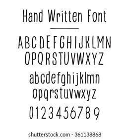Handwritten font, black on white. Upper and lower case.
