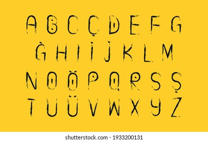 Handwritten font created with a brush.