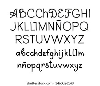 Handwritten font, Spanish, thin, black, vector. Black letters on a white field. Uppercase and lowercase letters.Thin felt-tip pen. Imitation.