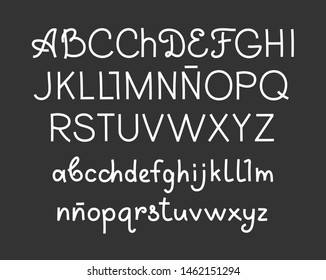 Handwritten font, Spanish, thin, white, vector. White letters on a gray field. Uppercase and lowercase letters.Thin felt-tip pen. Imitation.