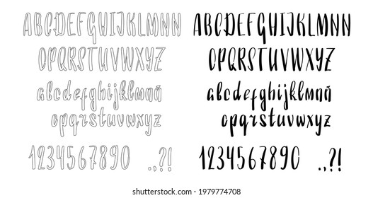 Handwritten font with uppercase and lowercase letters. English alphabet, numbers and punctuation signs. Handdrawn vertical letters. English font brushpen outlined and filled. Vector font
