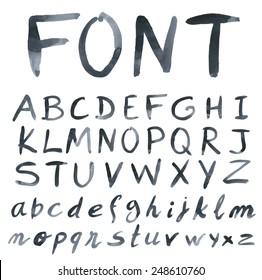Handwritten font. Watercolor. Vector illustration.