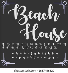 Handwritten fonts and alphabets, calligraphic characters, vector typeface and vintage