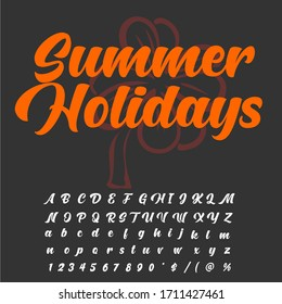 Handwritten fonts and alphabets, calligraphic characters, numbers and vintage vector illustrations named Summer Holidays