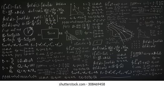 Handwritten formulas and equations on black background, vector eps10 illustration