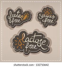 Handwritten Gluten, lactose, sugar free labels