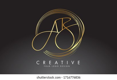 Handwritten Golden AB A B Letters Logo with a minimalist design. AB A B Sign with Golden Circular Circles. Creative Stamp Vector Illustration with letters A and B.