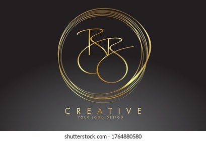 Handwritten Golden BB Letters Logo with a minimalist design. BB Sign with Golden Circular Circles. Creative Stamp Vector Illustration with letter B.