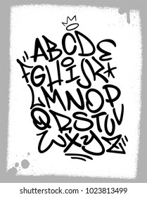 Handwritten graffiti font alphabet. Artistic hip hop typography collection. Custom vector calligraphy graphic set.