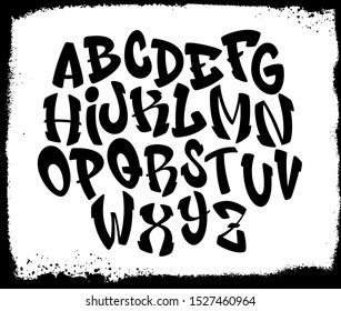 Handwritten graffiti font alphabet. Alphabet on a black background. Vector illustration