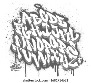 Handwritten graffiti font alphabet on spray paint background. Vector illustration
