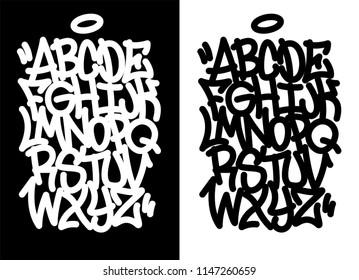 Handwritten graffiti font alphabet. Set on black background.