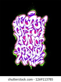 Handwritten graffiti font alphabet. Vector illustration set