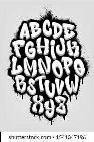 Handwritten graffiti font alphabet. Volumetric alphabet. Vector illustration