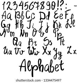handwritten ink alphabet sloppy writing