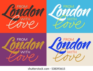 handwritten inscription from London with love, calligraphy, set of cards