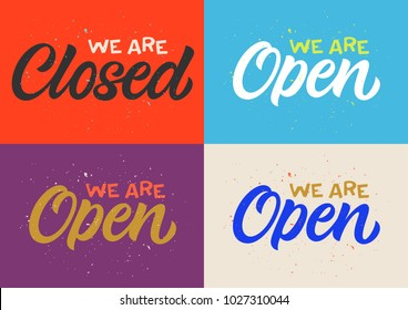 handwritten inscriptions we are closed and we are open, calligraphy, lettering, set of cards