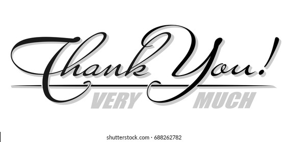 """Handwritten isolated text """"Thank You"""" with shadow. Hand drawn calligraphy lettering"""