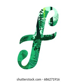 Handwritten letter F vector with forest inside