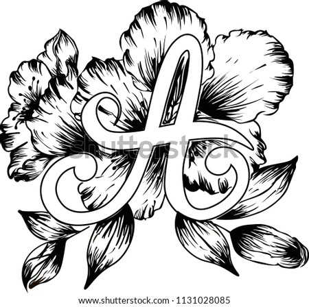 Handwritten letter flowers black white color stock vector royalty handwritten letter a with flowers in black and white color drawing floral alphabet can mightylinksfo