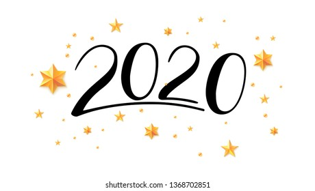 Handwritten lettering 2020. Hand drawn numbers for greeting card with chinese calligraphy. Happy New Year wishes for 2020 with golden stars, abstract pattern on white background. Vector illustration