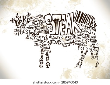 Hand-written lettering advertising Steak House art and advertising for posters and menu with cow, beaf from the handwritten text composition on a wooden board
