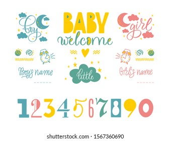 Handwritten lettering of baby metrics design. Delicate colors for poster and vector design. Handwritten calligraphic phrases and numbers for greeting a child. A boy and a girl, the moon, the clouds.
