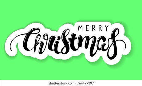 handwritten lettering brush lettering. Writing wishes for a Happy Christmas. sticker and label isolated.