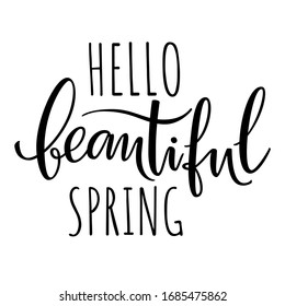 Handwritten lettering composition Hello spring black on the white background. Seasonal design element for greeting card design, invitation. Vector illustration.