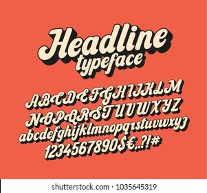 Handwritten lettering headline font. Vector script typeface.